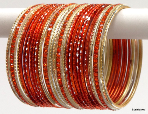 Indian Ethnic Bangles Costume Matching Belly Dance Bracelets Orange