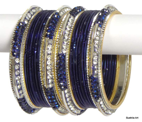 Indian Ethnic Bangles Costume Bollywood Belly Dance Bracelets Carbon Blue
