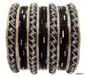 Bollywood Style Costume Matching Belly Dance Indian Bangles Black & Silver