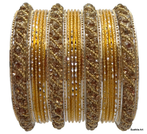 Beautiful Indian Bangles Kundan Studded Belly Dance Bracelets Gold & Cream