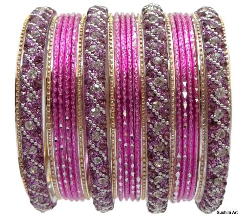 Ethnic Traditional Indian Bangle Set Wedding Kundan Studded Jewelry Pink