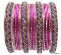 Ethnic Traditional Indian Bangle Set Wedding Kundan Studded Jewelry Pink