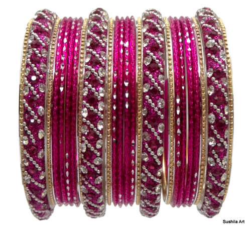 Beautiful Hot Pink Indian Bangles Kundan Studded Belly Dance Bracelets Set