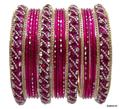 Beautiful Hot Pink Indian Bangles Kundan Studded Belly Dance Bracelets Set