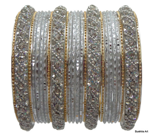 Beautiful Indian Bangles Kundan Studded Belly Dance Fashion Bracelets Silver White