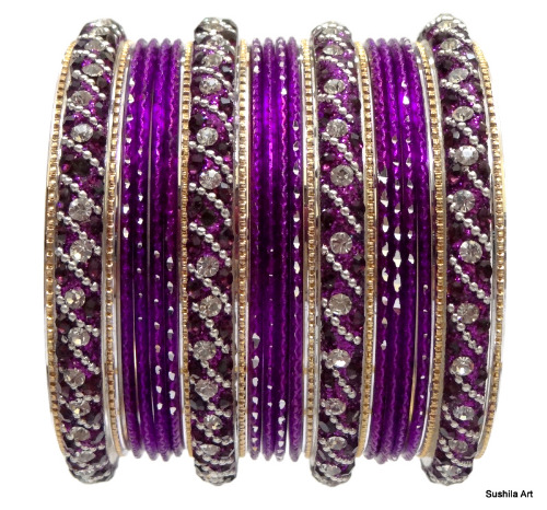 Beautiful Indian Bangles Kundan Studded Belly Dance Bracelets Magenta