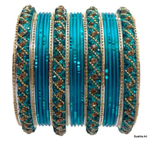 Indian Bangles Kundan Studded Bollywood Belly Dance Bracelets Turquoise