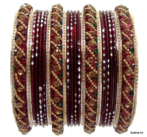 Beautiful Indian Belly Dance Bangles Kundan Studded Dress Matching Bracelets Maroon