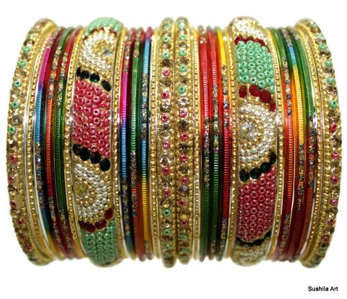 Indian Ethnic Bangles Belly Dance Beads Stones Studded Bracelets Multi-Color