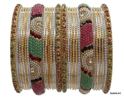 Indian Ethnic Bangles Bollywood Fashion Costume Jewelry Gold Silver Bracelets
