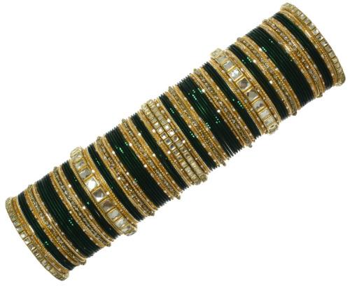 Indian Ethnic Bridal Bangles Set Kundan Bracelet Bollywood Fashion Jewelry Bottle Green
