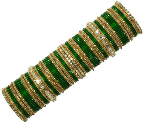 Indian Ethnic Bridal Bangles 110Pc Set Kundan Bracelet Bollywood Fashion Jewelry