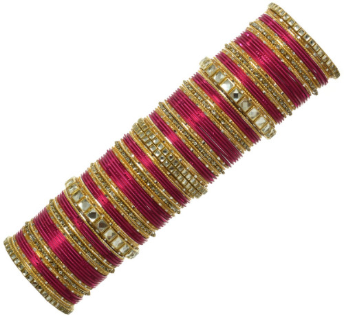 Beautiful Indian Bangles Belly Dance Ethnic Sari Matching Bridal Bracelets Rani/Hot pink