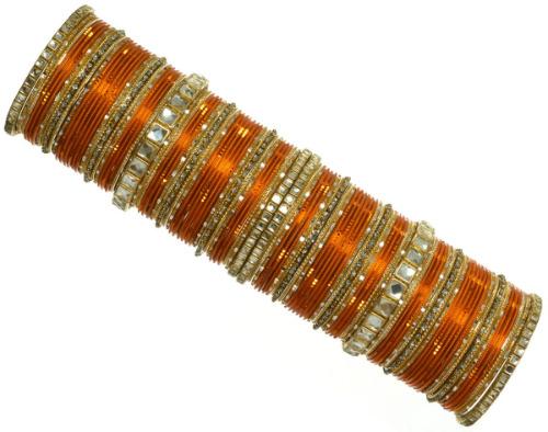 Indian Ethnic Bridal Bangles Kundan Bracelet Bollywood Fashion Jewelry Orange