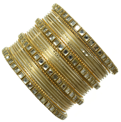 Beautiful Indian Traditional Party Bangles Kundan Studded Metal Bracelets Cream