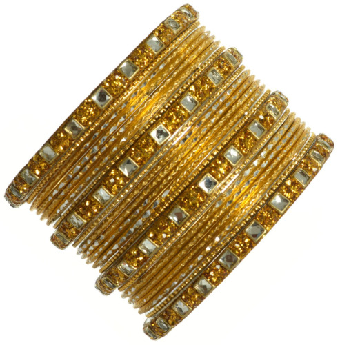 Indian Ethnic Wedding Metal Bangles Bollywood Kundan Bracelets Golden
