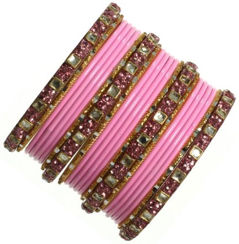 Indian Ethnic Wedding Bangles Bollywood Churi Kangan Kundan Bracelets Set of 22