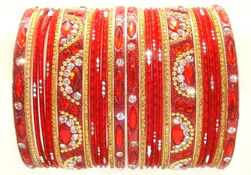Beautiful Red & Golden Color Indian Bangles Ethnic Belly Dance Bracelet Set
