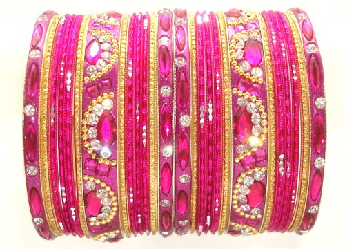 Hot Pink/Rani & Golden Color Indian Bangles Ethnic Belly Dance Metal Bracelet Set