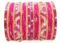 Hot Pink/Rani & Golden Color Indian Bangles Ethnic Belly Dance Metal Bracelet Set