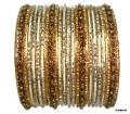 Set of 24 Belly dance Indian Bangles in Cream & Gold Color Bracelets