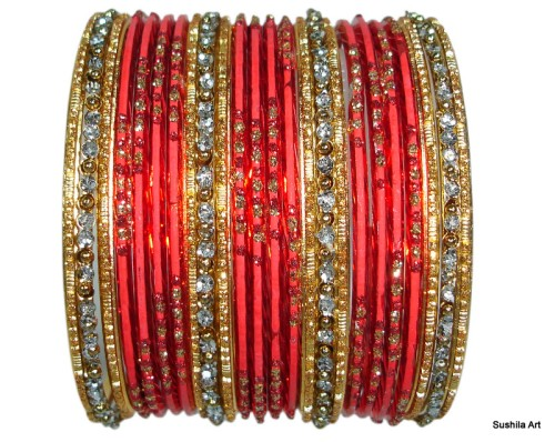 Red & Gold with Silver Glitter Dust Indian Belly Dance Bangles set of 24 Bracelets