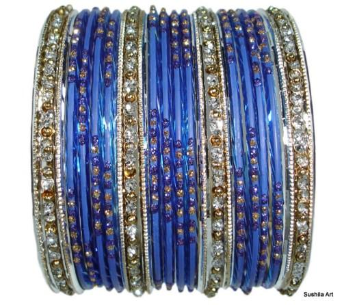 Indian Bangles Set of 24 Belly Dance Bracelets in Blue, Silver Color