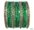 Green & Silver Color Indian Ethnic Bangles Bracelet Set of 24