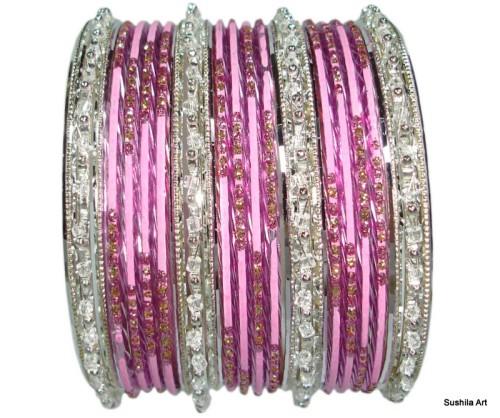 Baby Pink & silver Color Indian Belly Dance Costume Bangles Bracelet set of 24