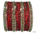 Maroon & Silver Bollywood Belly dance Metal Bangles Bracelet Set of  24