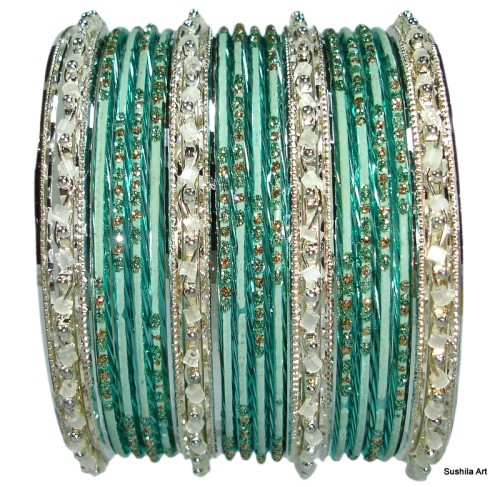 Green & Silver Set of 24 Indian Belly Dance Bangles Bracelets