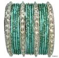 Green & Silver Set of 24 Indian Belly Dance Bangles Bracelets