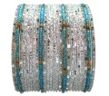 Silver White with Turquoise Poth Seed Beads Indian Bangles Set of 24 Ethnic Bracelets