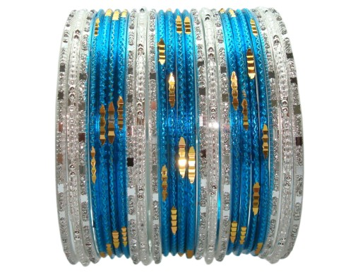 Turquoise & Silver White Color 24 Indian Bangles Set Bollywood Belly dance Bracelets