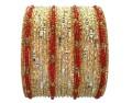 Cream With Orange Indian Bangles Ethnic Belly Dance Metal Bracelet Set