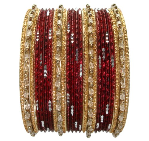 Beautiful Maroon & Gold Indian Bangles Ethnic Belly Dance Costume Bracelet Set