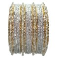 Set of 24 Indian Bracelets in Silver White Color Bangles with Poth Beads