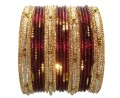 Beautiful Maroon & Gold Color Indian Bangles Bollywood Fashion Bracelet Set
