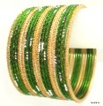 Mehendi Green Belly Dance Indian Ethnic Bangles Metal Bracelet Set