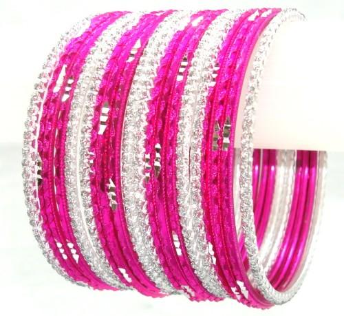Belly Dance Indian Ethnic Metal Bangles Rani Pink & Silver Color Bracelet Set