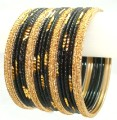 Indian Ethnic Metal Bangles Belly Dance Black & Gold Color Bracelet Set