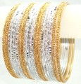 Silver White & Gold Color Belly Dance Indian Ethnic Metal Bangles Bracelet Set