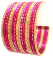 Rani/Pink Color Indian Ethnic Metal Bangles Belly Dance Bracelet Set