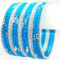 Bollywood Indian Bangles Turquoise & Silver Color Ethnic Metal Bracelet Set
