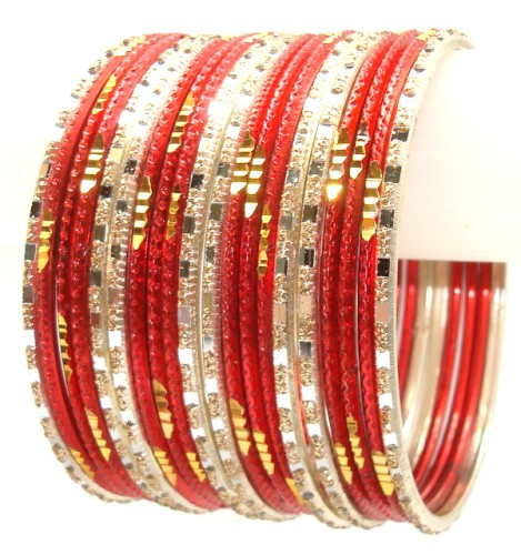 Bollywood Red & Silver Color Indian Bangles Belly Dance Metal Bracelet Set