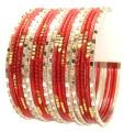 Bollywood Red & Silver Color Indian Bangles Belly Dance Metal Bracelet Set