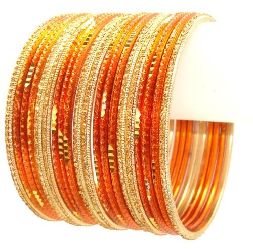 Indian Ethnic Metal Bangles Belly Dance Bracelet Set Orange With Gold Color