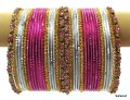 Pink, Silver White & gold Indian Bollywood Metal Bangles Bracelets set of 36