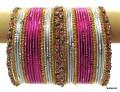 Pink, Silver White & gold Indian Bollywood Metal Bangles Bracelets set of 36