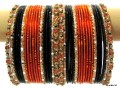 Orange, Black & Gold Color Beautiful Indian Ethinc Belly Dance Costume Matching Bangles Bracelet set